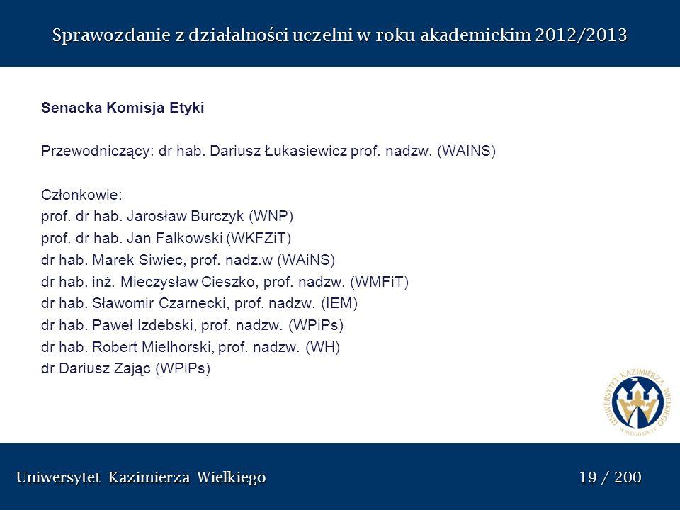 Uniwersytet Kazimierza Wielkiego 19 / 200 Uniwersytet Kazimierza Wielkiego 19 / 200 Sprawozdanie z dzia ł alno ś ci uczelni w roku akademickim 2012/20