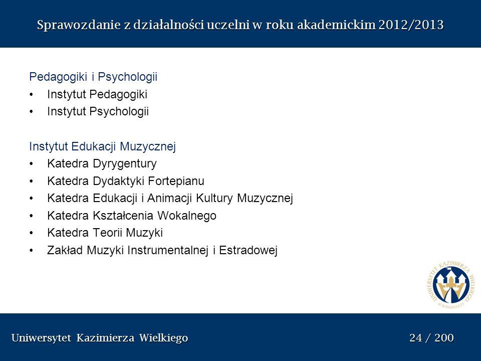 Uniwersytet Kazimierza Wielkiego 24 / 200 Uniwersytet Kazimierza Wielkiego 24 / 200 Sprawozdanie z dzia ł alno ś ci uczelni w roku akademickim 2012/20