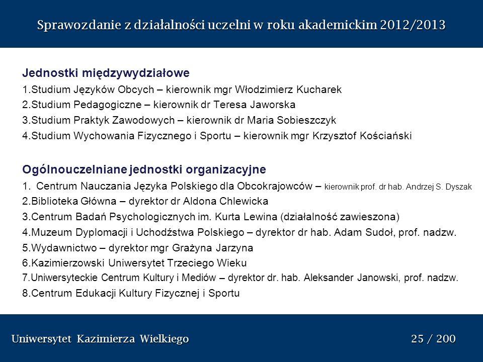 Uniwersytet Kazimierza Wielkiego 25 / 200 Uniwersytet Kazimierza Wielkiego 25 / 200 Sprawozdanie z dzia ł alno ś ci uczelni w roku akademickim 2012/20