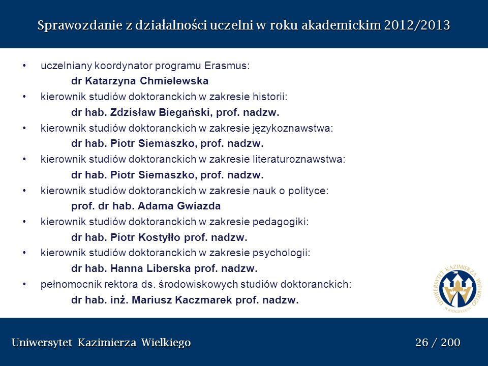 Uniwersytet Kazimierza Wielkiego 26 / 200 Uniwersytet Kazimierza Wielkiego 26 / 200 Sprawozdanie z dzia ł alno ś ci uczelni w roku akademickim 2012/20