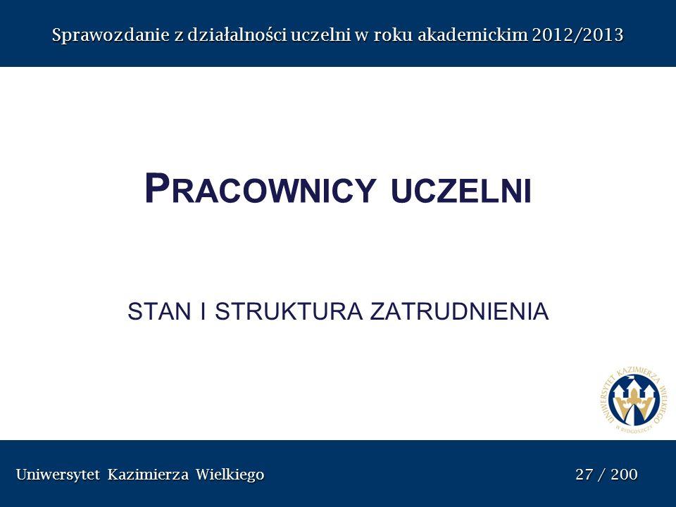 Uniwersytet Kazimierza Wielkiego 27 / 200 Uniwersytet Kazimierza Wielkiego 27 / 200 Sprawozdanie z dzia ł alno ś ci uczelni w roku akademickim 2012/20