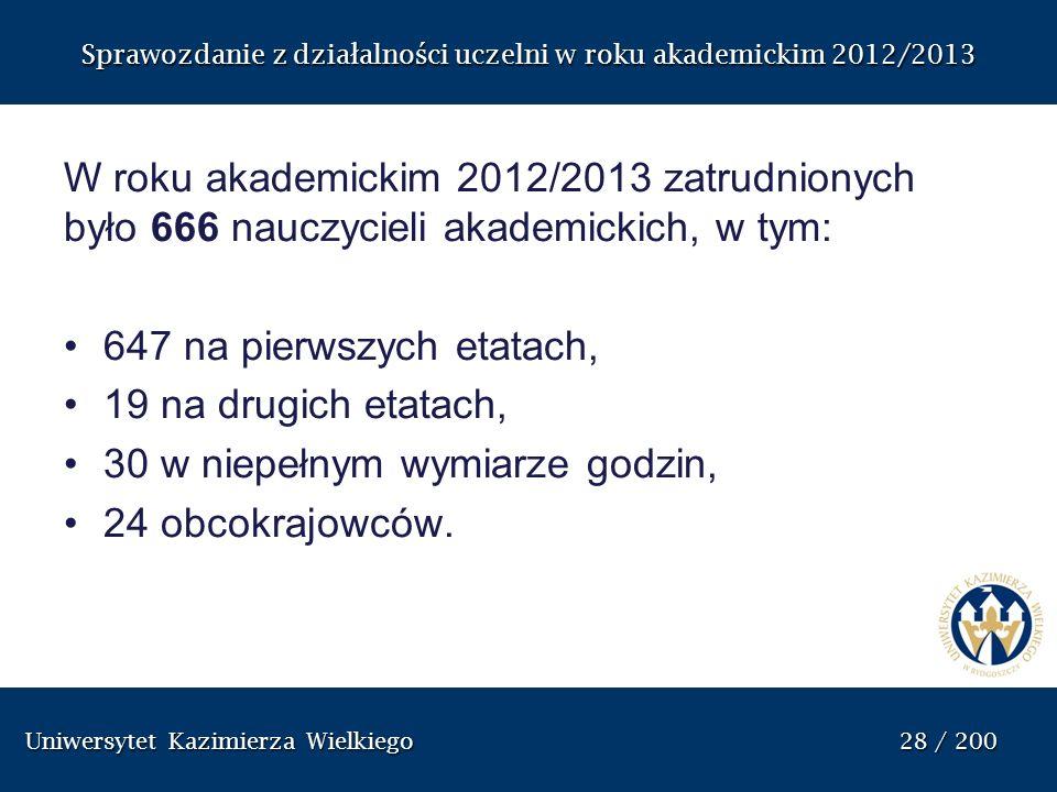 Uniwersytet Kazimierza Wielkiego 28 / 200 Uniwersytet Kazimierza Wielkiego 28 / 200 Sprawozdanie z dzia ł alno ś ci uczelni w roku akademickim 2012/20