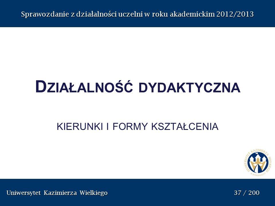 Uniwersytet Kazimierza Wielkiego 37 / 200 Uniwersytet Kazimierza Wielkiego 37 / 200 Sprawozdanie z dzia ł alno ś ci uczelni w roku akademickim 2012/20