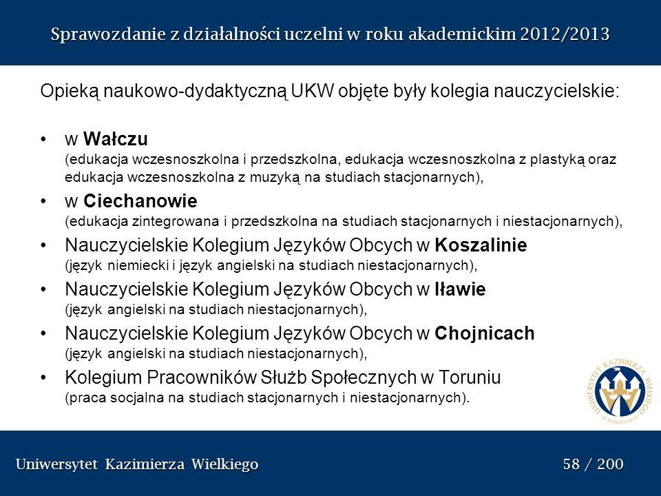 Uniwersytet Kazimierza Wielkiego 58 / 200 Uniwersytet Kazimierza Wielkiego 58 / 200 Sprawozdanie z dzia ł alno ś ci uczelni w roku akademickim 2012/20
