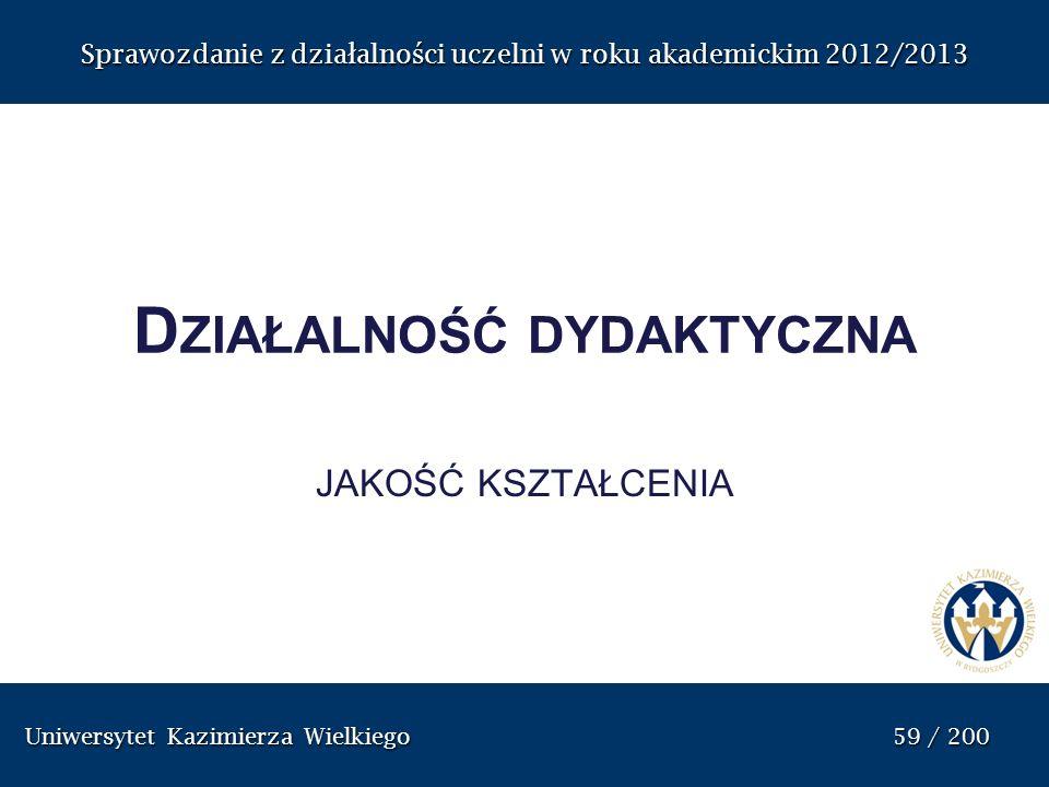 Uniwersytet Kazimierza Wielkiego 59 / 200 Uniwersytet Kazimierza Wielkiego 59 / 200 Sprawozdanie z dzia ł alno ś ci uczelni w roku akademickim 2012/20