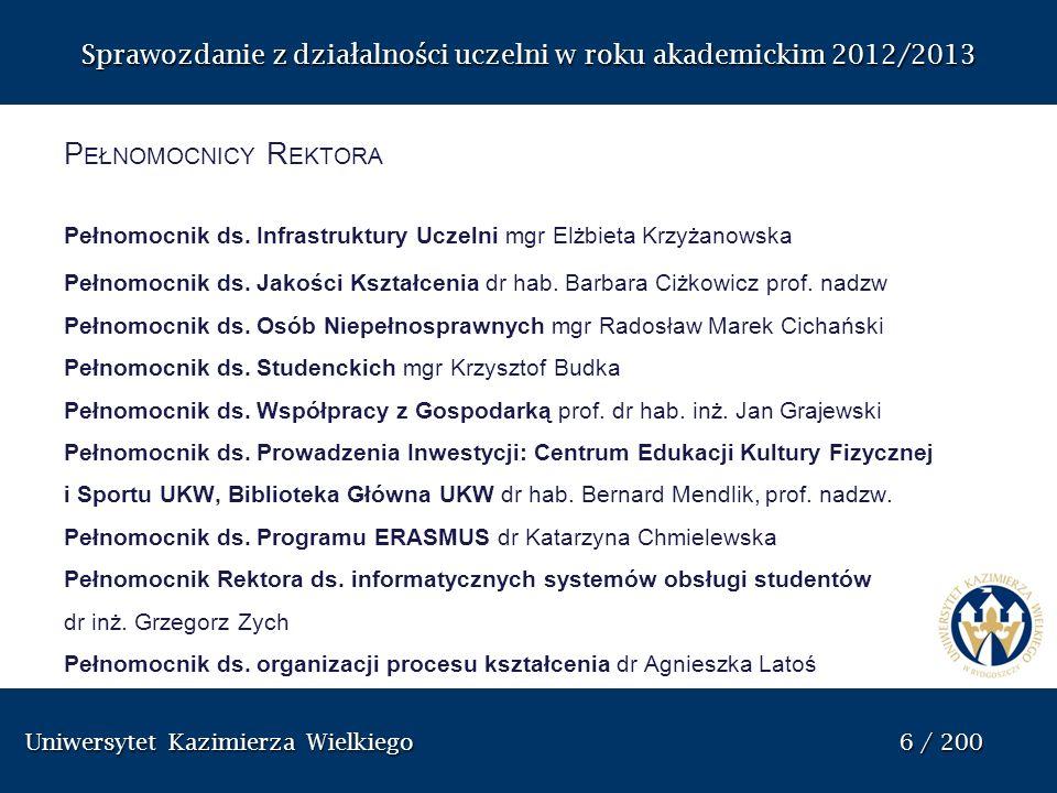 Uniwersytet Kazimierza Wielkiego 87 / 200 Uniwersytet Kazimierza Wielkiego 87 / 200 Sprawozdanie z dzia ł alno ś ci uczelni w roku akademickim 2012/2013 P EŁNOMOCNIK R EKTORA DS.