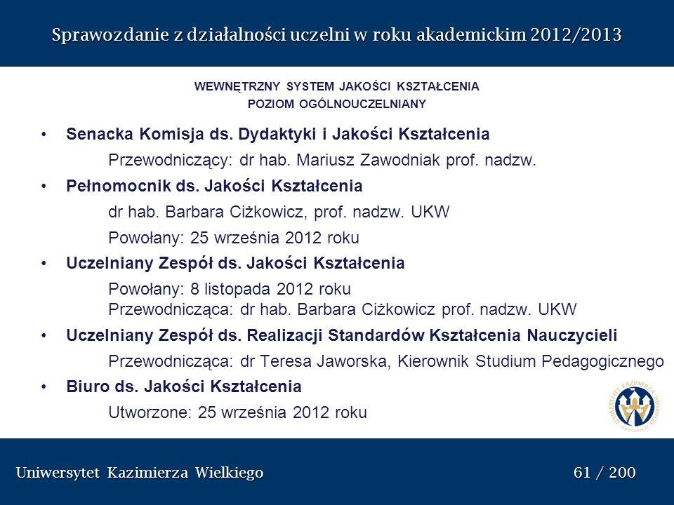 Uniwersytet Kazimierza Wielkiego 61 / 200 Uniwersytet Kazimierza Wielkiego 61 / 200 Sprawozdanie z dzia ł alno ś ci uczelni w roku akademickim 2012/20