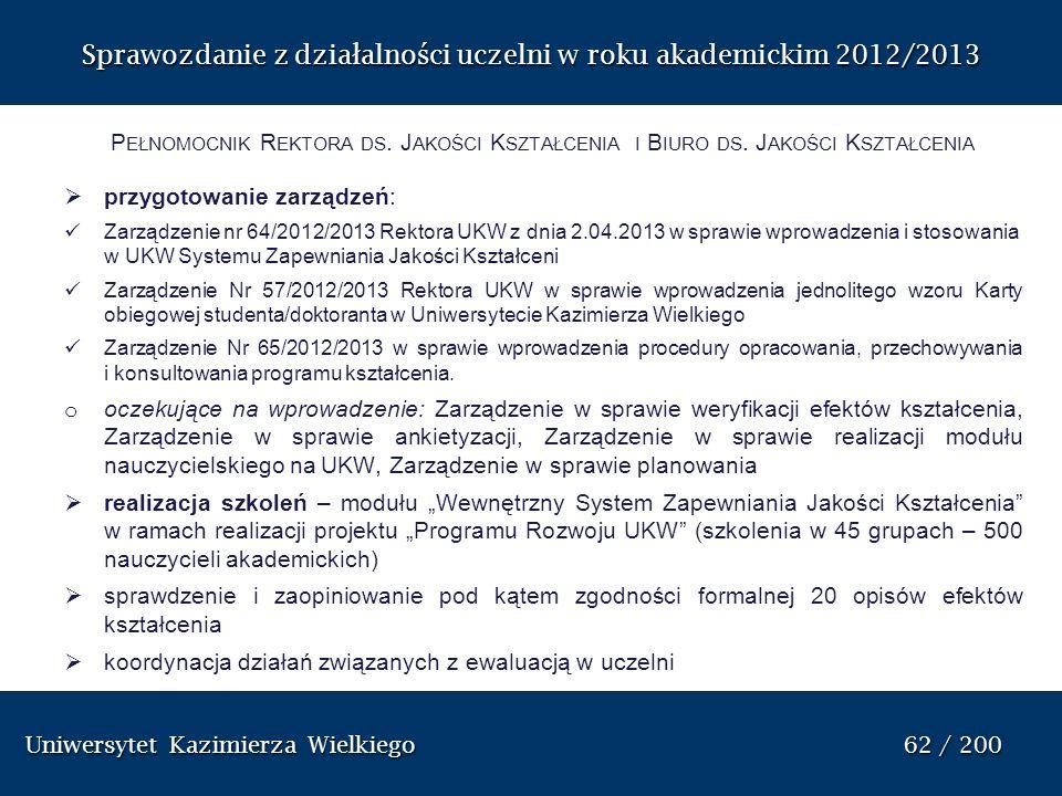 Uniwersytet Kazimierza Wielkiego 62 / 200 Uniwersytet Kazimierza Wielkiego 62 / 200 Sprawozdanie z dzia ł alno ś ci uczelni w roku akademickim 2012/20