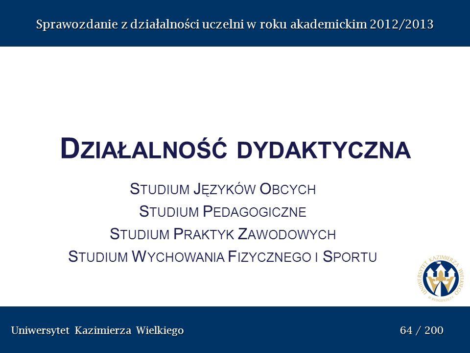 Uniwersytet Kazimierza Wielkiego 64 / 200 Uniwersytet Kazimierza Wielkiego 64 / 200 Sprawozdanie z dzia ł alno ś ci uczelni w roku akademickim 2012/20