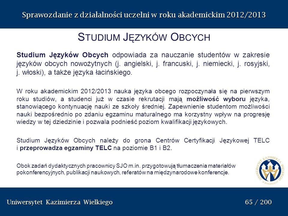 Uniwersytet Kazimierza Wielkiego 65 / 200 Uniwersytet Kazimierza Wielkiego 65 / 200 Sprawozdanie z dzia ł alno ś ci uczelni w roku akademickim 2012/20