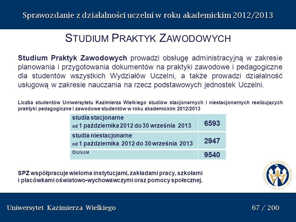 Uniwersytet Kazimierza Wielkiego 67 / 200 Uniwersytet Kazimierza Wielkiego 67 / 200 Sprawozdanie z dzia ł alno ś ci uczelni w roku akademickim 2012/20