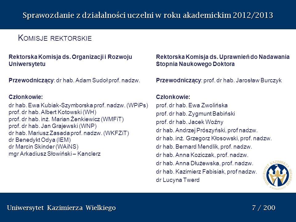 Uniwersytet Kazimierza Wielkiego 8 / 200 Uniwersytet Kazimierza Wielkiego 8 / 200 Sprawozdanie z dzia ł alno ś ci uczelni w roku akademickim 2012/2013 Komisja ds.