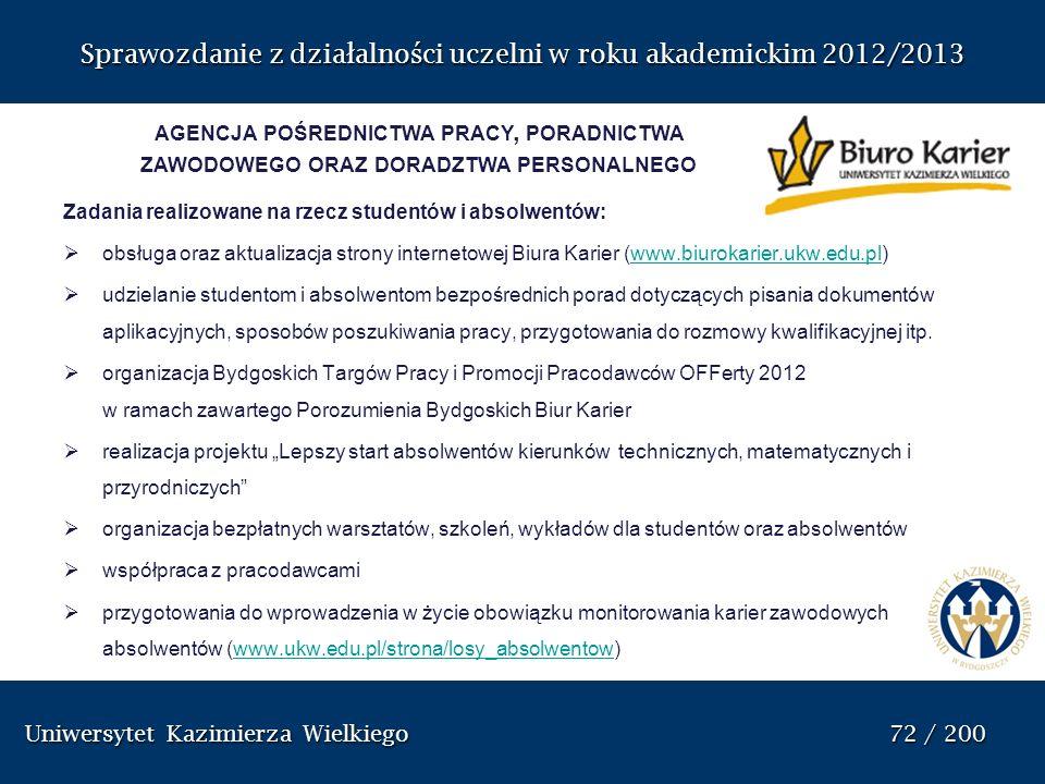 Uniwersytet Kazimierza Wielkiego 72 / 200 Uniwersytet Kazimierza Wielkiego 72 / 200 Sprawozdanie z dzia ł alno ś ci uczelni w roku akademickim 2012/20