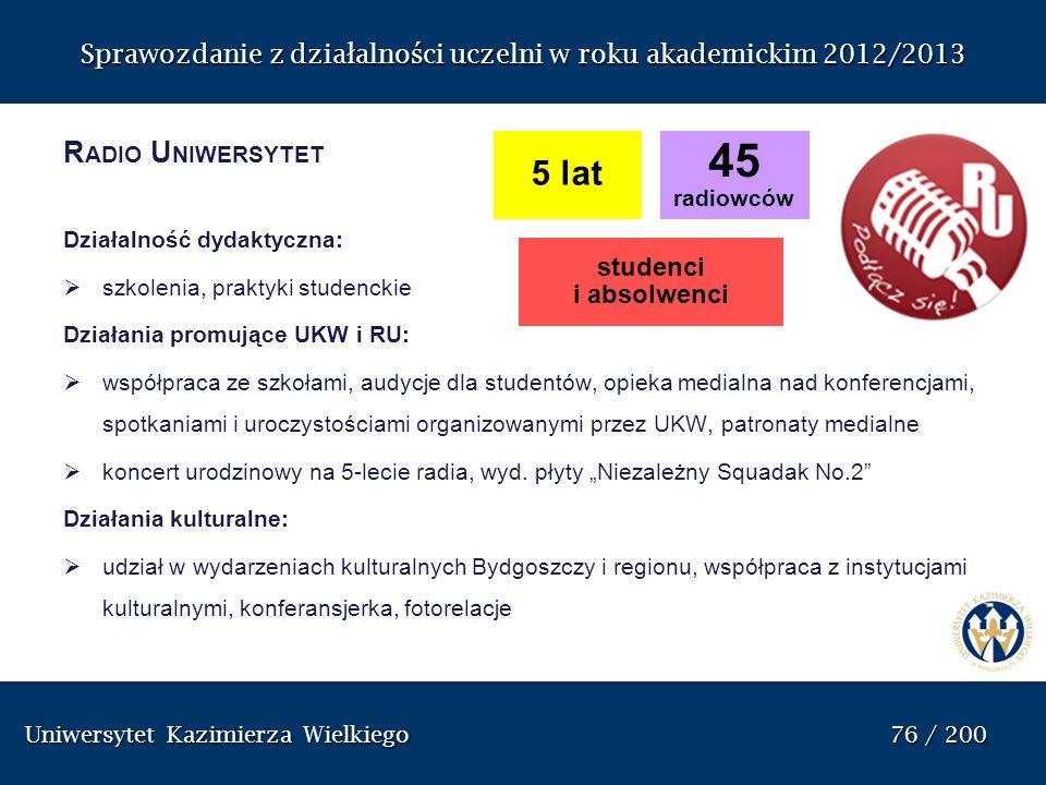 Sprawozdanie z dzia ł alno ś ci uczelni w roku akademickim 2012/2013 R ADIO U NIWERSYTET Działalność dydaktyczna: szkolenia, praktyki studenckie Dział