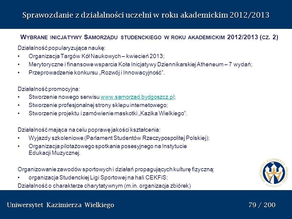 Uniwersytet Kazimierza Wielkiego 79 / 200 Uniwersytet Kazimierza Wielkiego 79 / 200 Sprawozdanie z dzia ł alno ś ci uczelni w roku akademickim 2012/20
