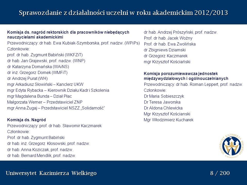 Uniwersytet Kazimierza Wielkiego 8 / 200 Uniwersytet Kazimierza Wielkiego 8 / 200 Sprawozdanie z dzia ł alno ś ci uczelni w roku akademickim 2012/2013