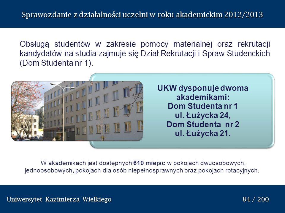 Uniwersytet Kazimierza Wielkiego 84 / 200 Uniwersytet Kazimierza Wielkiego 84 / 200 Sprawozdanie z dzia ł alno ś ci uczelni w roku akademickim 2012/20