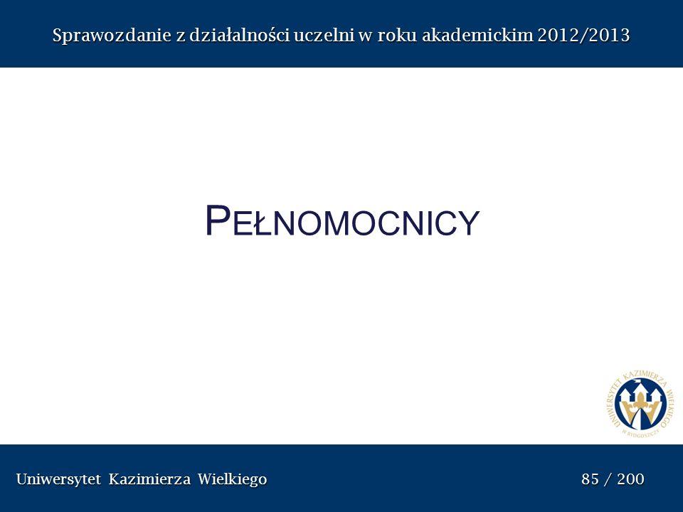 Uniwersytet Kazimierza Wielkiego 85 / 200 Uniwersytet Kazimierza Wielkiego 85 / 200 Sprawozdanie z dzia ł alno ś ci uczelni w roku akademickim 2012/20