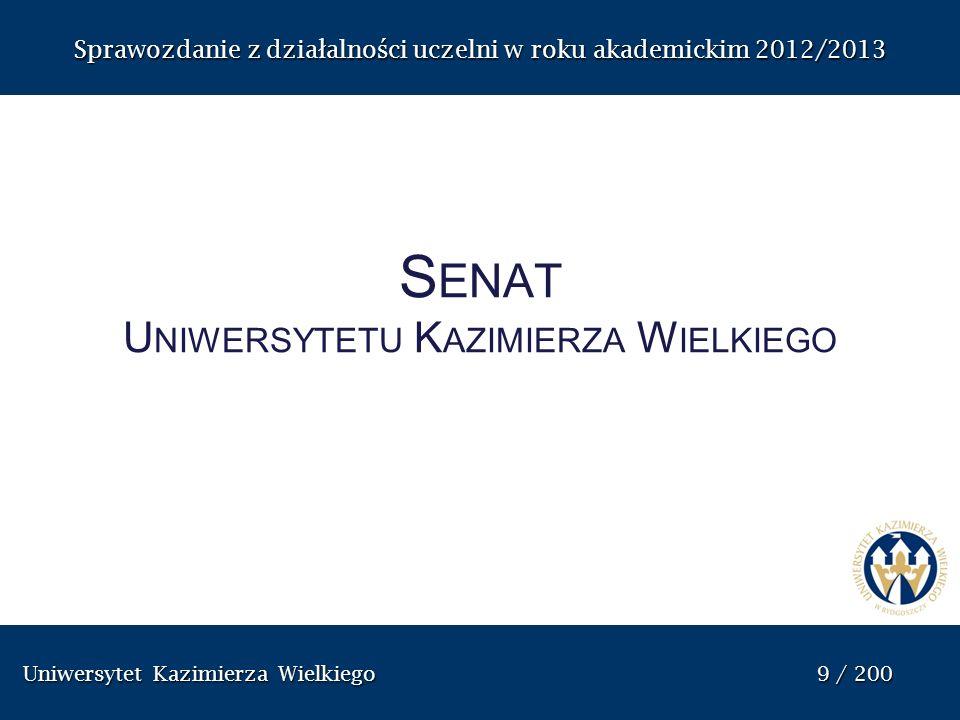 Uniwersytet Kazimierza Wielkiego 60 / 200 Uniwersytet Kazimierza Wielkiego 60 / 200 Sprawozdanie z dzia ł alno ś ci uczelni w roku akademickim 2012/2013 Pełnomocnik Rektora ds.