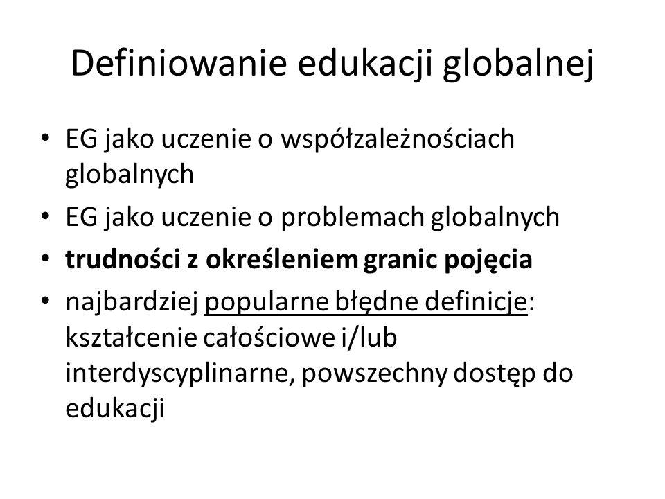 Definiowanie edukacji globalnej EG jako uczenie o współzależnościach globalnych EG jako uczenie o problemach globalnych trudności z określeniem granic