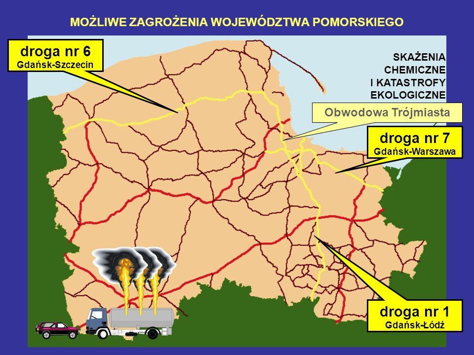 MOŻLIWE ZAGROŻENIA WOJEWÓDZTWA POMORSKIEGO droga nr 1 Gdańsk-Łódź droga nr 6 Gdańsk-Szczecin droga nr 7 Gdańsk-Warszawa Obwodowa Trójmiasta SKAŻENIA C
