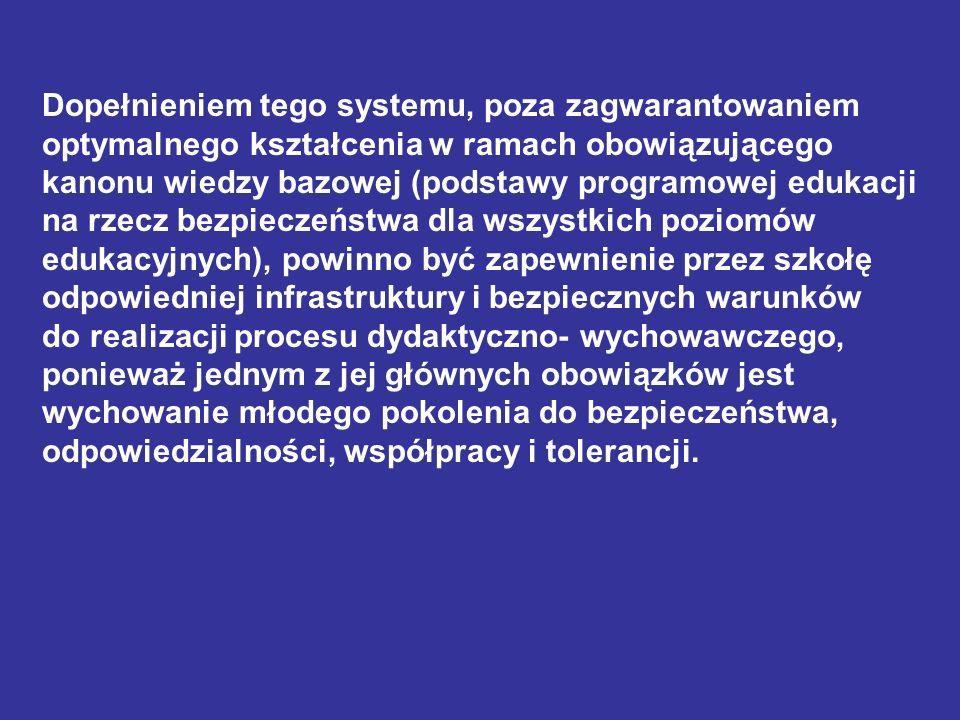Dopełnieniem tego systemu, poza zagwarantowaniem optymalnego kształcenia w ramach obowiązującego kanonu wiedzy bazowej (podstawy programowej edukacji
