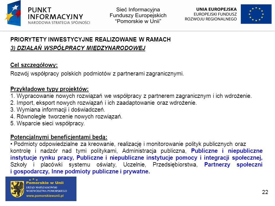 22 PRIORYTETY INWESTYCYJNE REALIZOWANE W RAMACH 3) DZIAŁAŃ WSPÓŁPRACY MIĘDZYNARODOWEJ Cel szczegółowy: Rozwój współpracy polskich podmiotów z partnera