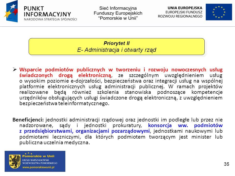 35 Wsparcie podmiotów publicznych w tworzeniu i rozwoju nowoczesnych usług świadczonych drogą elektroniczną, ze szczególnym uwzględnieniem usług o wys