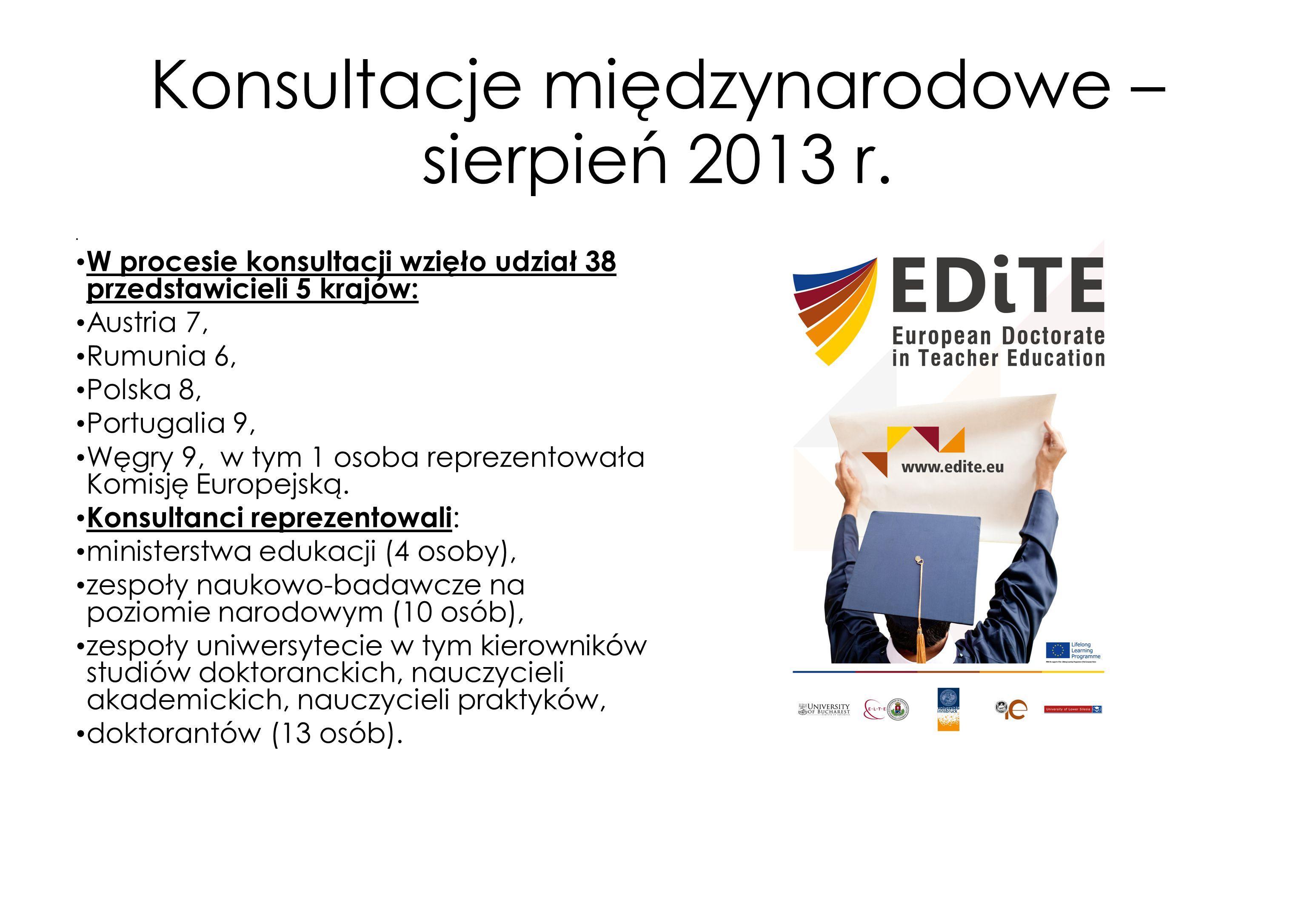 Konsultacje międzynarodowe – sierpień 2013 r. W procesie konsultacji wzięło udział 38 przedstawicieli 5 krajów: Austria 7, Rumunia 6, Polska 8, Portug
