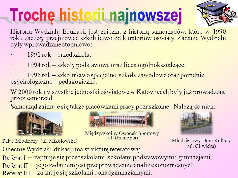 Pan mgr inż. Mieczysław Żyrek jest Naczelnikiem Wydziału Edukacji Urzędu Miasta Katowice. Funkcję tę pełni od 1996 roku. Pierwszą placówką, w której n