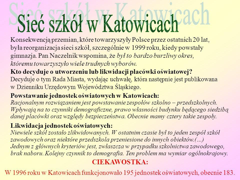 Konsekwencją przemian, które towarzyszyły Polsce przez ostatnich 20 lat, była reorganizacja sieci szkół, szczególnie w 1999 roku, kiedy powstały gimnazja.
