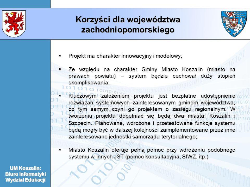 Korzyści dla województwa zachodniopomorskiego Projekt ma charakter innowacyjny i modelowy; Projekt ma charakter innowacyjny i modelowy; Ze względu na charakter Gminy Miasto Koszalin (miasto na prawach powiatu) – system będzie cechował duży stopień skomplikowania; Ze względu na charakter Gminy Miasto Koszalin (miasto na prawach powiatu) – system będzie cechował duży stopień skomplikowania; Kluczowym założeniem projektu jest bezpłatne udostępnienie rozwiązań systemowych zainteresowanym gminom województwa, co tym samym czyni go projektem o zasięgu regionalnym.