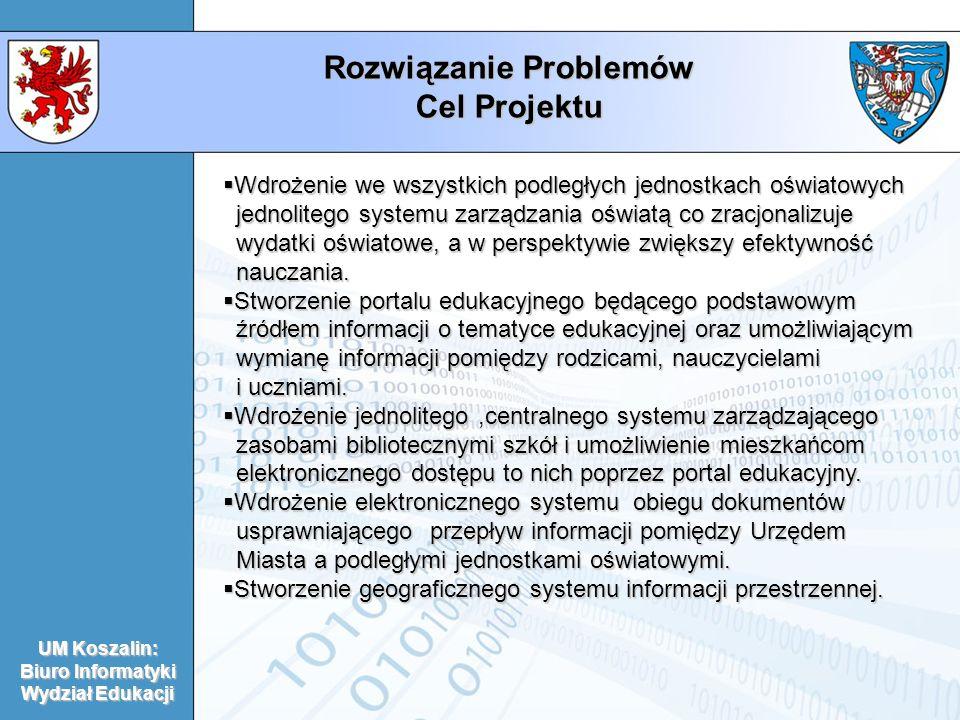 Rozwiązanie Problemów Cel Projektu UM Koszalin: Biuro Informatyki Wydział Edukacji Wdrożenie we wszystkich podległych jednostkach oświatowych Wdrożeni