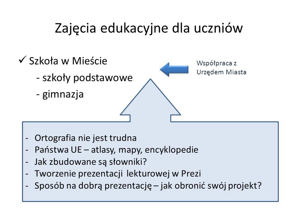 Zajęcia edukacyjne dla uczniów Szkoła w Mieście - szkoły podstawowe - gimnazja Współpraca z Urzędem Miasta -Ortografia nie jest trudna -Państwa UE – a