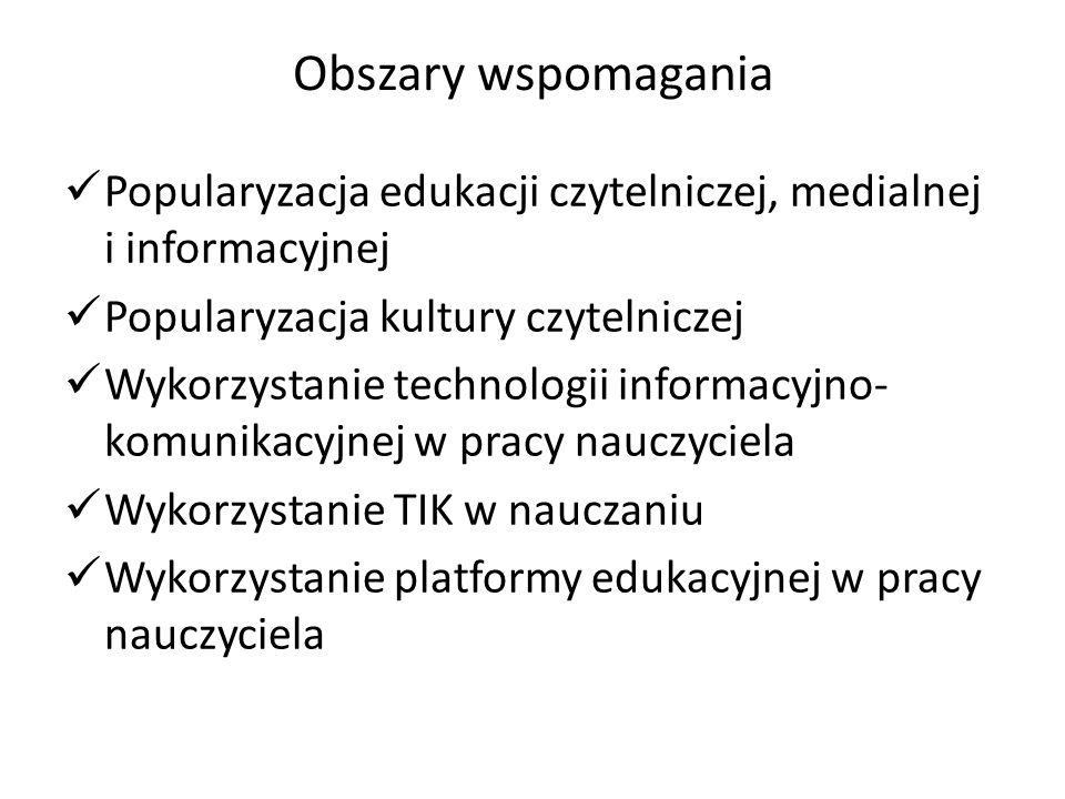 Obszary wspomagania Popularyzacja edukacji czytelniczej, medialnej i informacyjnej Popularyzacja kultury czytelniczej Wykorzystanie technologii inform