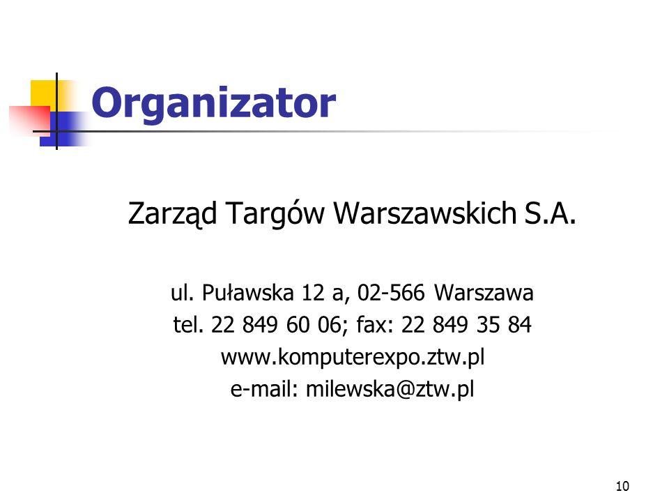 10 Organizator Zarząd Targów Warszawskich S.A. ul.