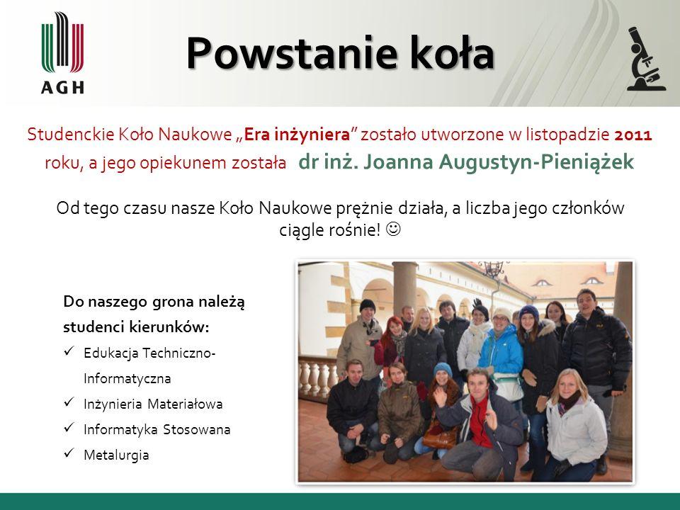 Powstanie koła Studenckie Koło Naukowe Era inżyniera zostało utworzone w listopadzie 2011 roku, a jego opiekunem została dr inż. Joanna Augustyn-Pieni