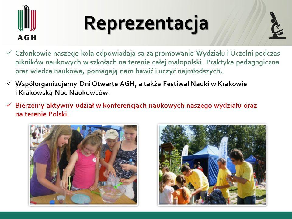 Członkowie naszego koła odpowiadają są za promowanie Wydziału i Uczelni podczas pikników naukowych w szkołach na terenie całej małopolski. Praktyka pe