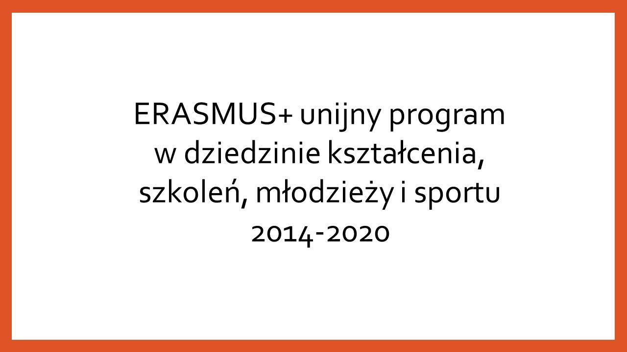 ERASMUS+ unijny program w dziedzinie kształcenia, szkoleń, młodzieży i sportu 2014-2020