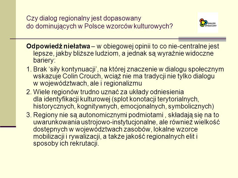 Czy dialog regionalny jest dopasowany do dominujących w Polsce wzorców kulturowych.