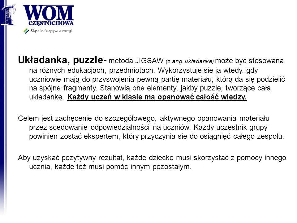 Układanka, puzzle- metoda JIGSAW (z ang. układanka) może być stosowana na różnych edukacjach, przedmiotach. Wykorzystuje się ją wtedy, gdy uczniowie m