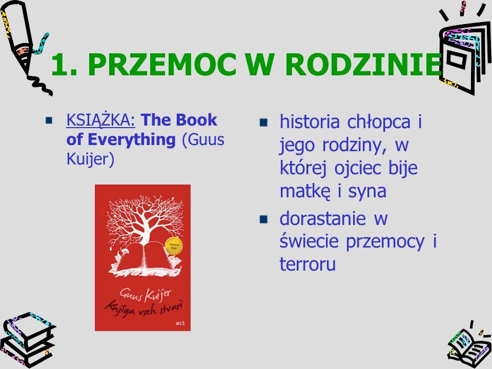 1. PRZEMOC W RODZINIE KSIĄŻKA: The Book of Everything (Guus Kuijer) historia chłopca i jego rodziny, w której ojciec bije matkę i syna dorastanie w św
