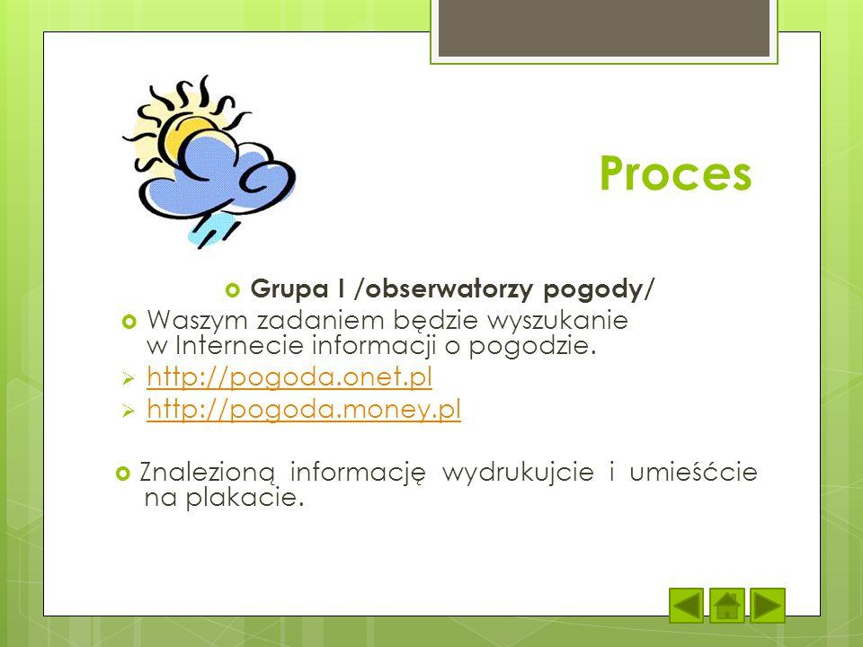 Proces Grupa I /obserwatorzy pogody/ Waszym zadaniem będzie wyszukanie w Internecie informacji o pogodzie. http://pogoda.onet.pl http://pogoda.money.p