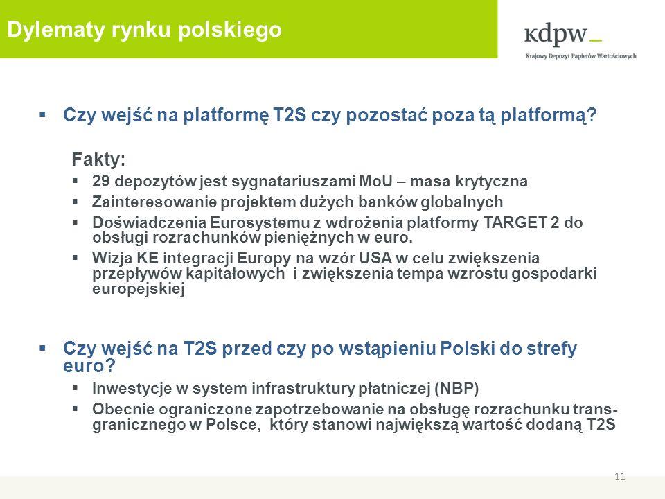 Dylematy rynku polskiego Czy wejść na platformę T2S czy pozostać poza tą platformą? Fakty: 29 depozytów jest sygnatariuszami MoU – masa krytyczna Zain