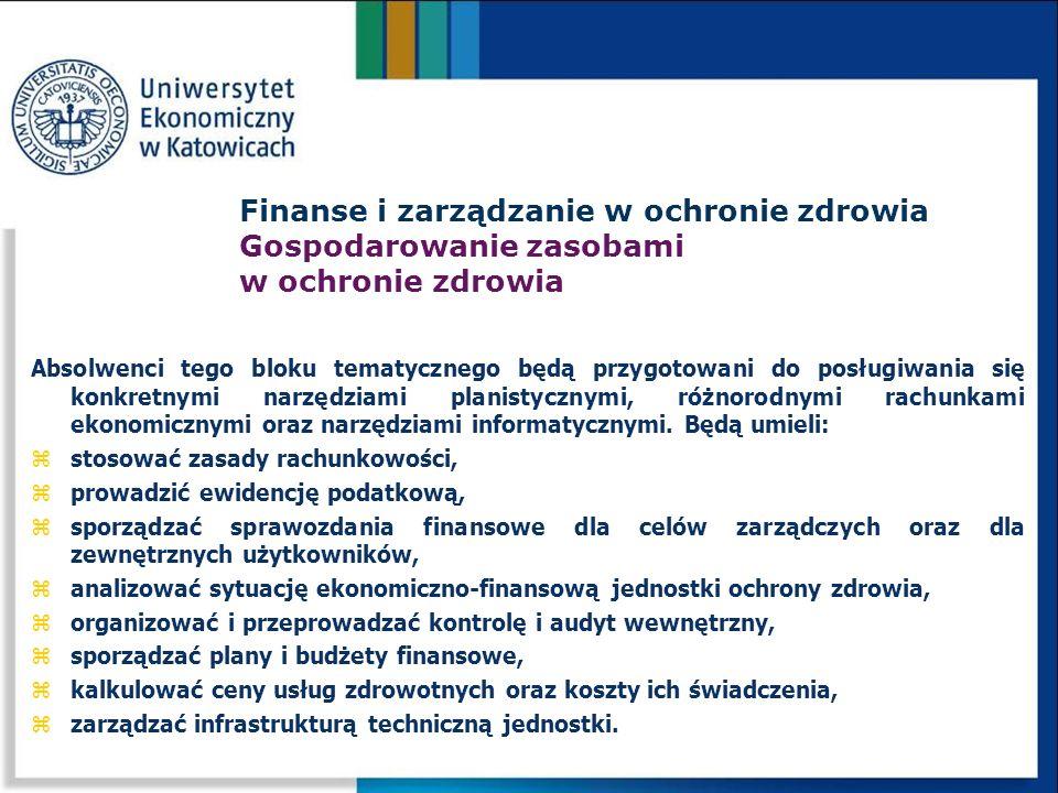 Absolwenci tego bloku tematycznego będą przygotowani do posługiwania się konkretnymi narzędziami planistycznymi, różnorodnymi rachunkami ekonomicznymi