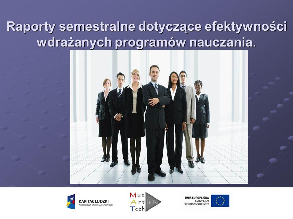 Raporty semestralne dotyczące efektywności wdrażanych programów nauczania.