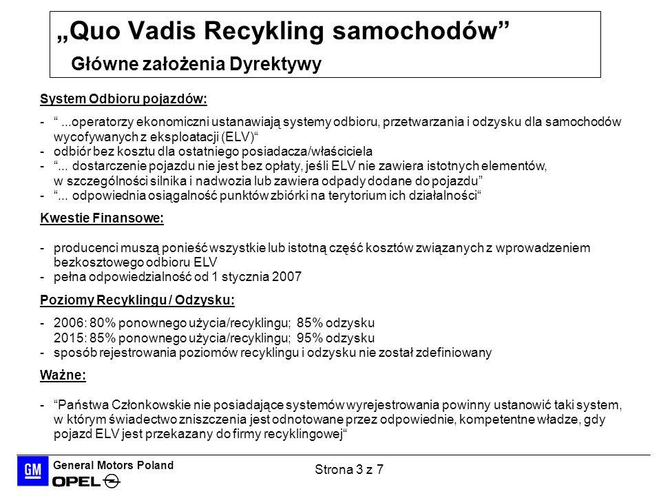 General Motors Poland Strona 4 z 7 Quo Vadis Recykling samochodów Pozytywne i negatywne oddziaływanie Dyrektywy w zależności od sposobu wdrożenia w państwie ELV: POTENCJALNE KORZYŚCI Jeśli pragmatyczne, efektywne rozwiązania są przewidziane, żeby osiągnąć cele środowiskowe, pojazdy ELVs stanowią szansę Dla całej, globalnej branży samochodowej: na poprawę publicznej percepcji jej wyrobów i przemysłu Dla poszczególnych państw na: rozwiązanie / zapobieżenie problemom środowiskowym posiadanie mocnego, konkurencyjnego międzynarodowo przemysłu recyklingu ELV: POTENCJALNE ZAGROŻENIA Jeśli operatorom ekonomicznym nie jest dana możliwość określenia najlepszego sposobu wypełnienia obowiązków, pojazdy ELVs stają się zagrożeniem Dla całej, globalnej branży samochodowej: olbrzymim negatywnym wpływem finansowym Dla poszczególnych państw na: utratę i tak ograniczonych środków pieniężnych posiadanie niewydajnych niekonkurencyjnych przemysłów negatywne oddziaływanie na krajowy sektor motoryzacyjny