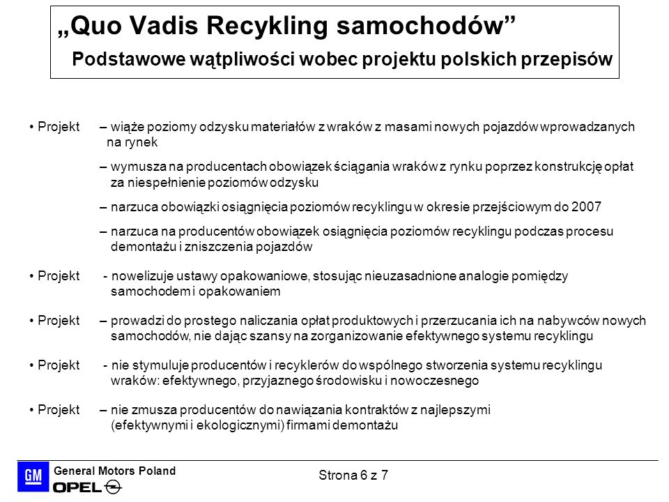 General Motors Poland Strona 6 z 7 Quo Vadis Recykling samochodów Podstawowe wątpliwości wobec projektu polskich przepisów Projekt – wiąże poziomy odz