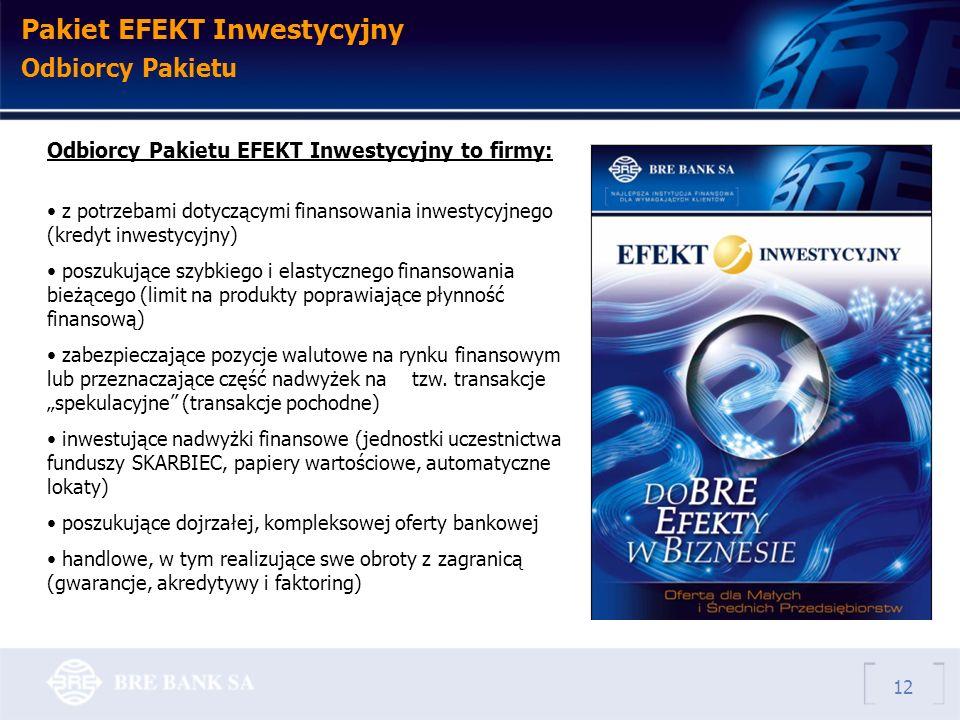 Pakiet EFEKT Inwestycyjny Odbiorcy Pakietu Odbiorcy Pakietu EFEKT Inwestycyjny to firmy: z potrzebami dotyczącymi finansowania inwestycyjnego (kredyt inwestycyjny) poszukujące szybkiego i elastycznego finansowania bieżącego (limit na produkty poprawiające płynność finansową) zabezpieczające pozycje walutowe na rynku finansowym lub przeznaczające część nadwyżek na tzw.