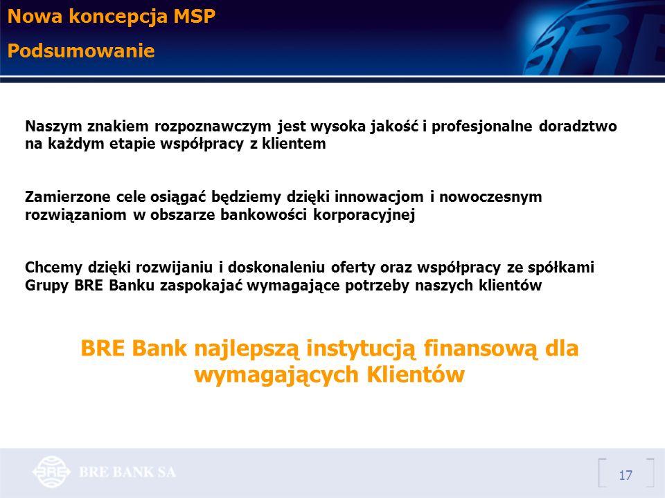 17 Nowa koncepcja MSP Podsumowanie Naszym znakiem rozpoznawczym jest wysoka jakość i profesjonalne doradztwo na każdym etapie współpracy z klientem Zamierzone cele osiągać będziemy dzięki innowacjom i nowoczesnym rozwiązaniom w obszarze bankowości korporacyjnej Chcemy dzięki rozwijaniu i doskonaleniu oferty oraz współpracy ze spółkami Grupy BRE Banku zaspokajać wymagające potrzeby naszych klientów BRE Bank najlepszą instytucją finansową dla wymagających Klientów